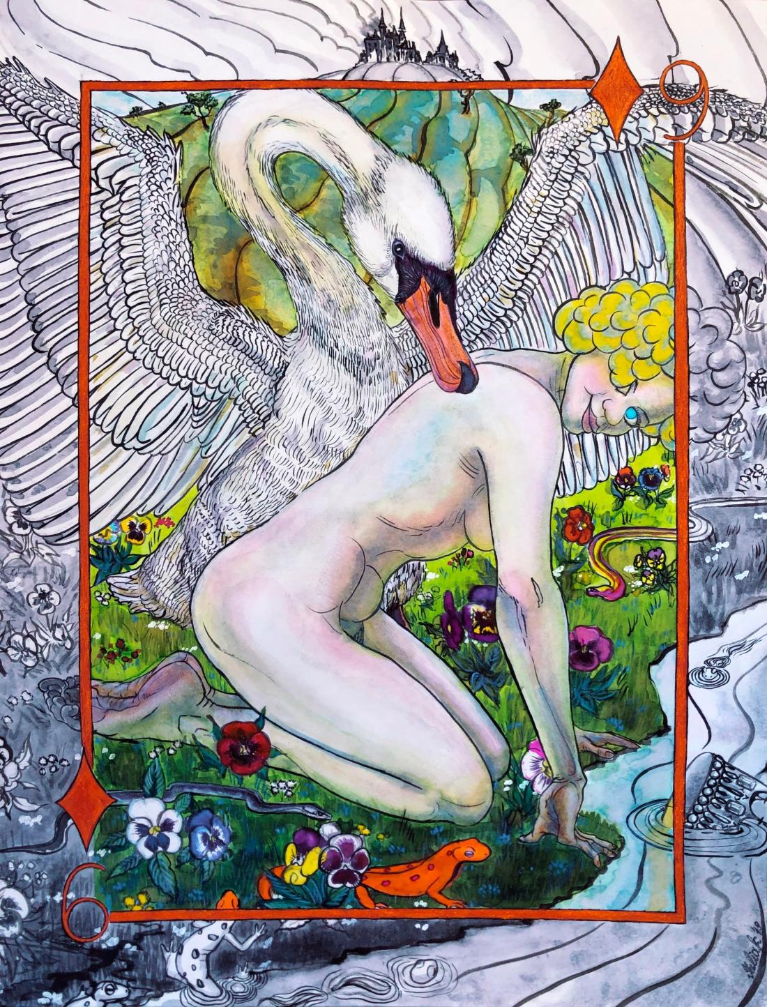 Six Of Diamonds. Leda And The Swan