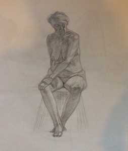 Female figure, pencil on paper.