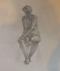 Female figure, pencil on paper.